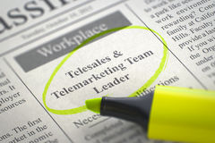 Job Opening Telesales e vendita per televisione Team Leader 3d Immagine Stock