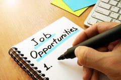 Job opportunities list. Stock Photography