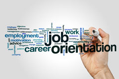 Job orientation word cloud. Concept on grey background Royalty Free Stock Photography