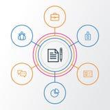 Job Outline Icons Set Collection d'accord, d'équipe, de conversation et d'autres éléments Inclut également des symboles tel Photographie stock libre de droits