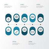 Job Outline Icons Set Collection de conversation Image libre de droits