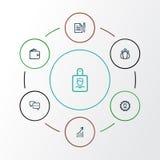 Job Outline Icons Set Collection de conversation, de portefeuille, d'accord et d'autres éléments Inclut également des symboles te Photographie stock libre de droits