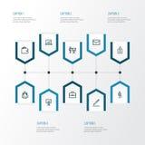 Job Outline Icons Set Raccolta del gruppo, del portafoglio, dell'identificazione e di altri elementi Fotografie Stock