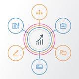 Job Outline Icons Set Raccolta della carta assegni, dell'accordo, di firma del contratto e di altri elementi Inoltre comprende i  Fotografie Stock Libere da Diritti