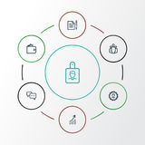 Job Outline Icons Set Raccolta della conversazione, del portafoglio, dell'accordo e di altri elementi Inoltre comprende i simboli Fotografia Stock Libera da Diritti