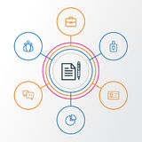 Job Outline Icons Set Raccolta di accordo, del gruppo, della conversazione e di altri elementi Inoltre comprende i simboli come Fotografia Stock Libera da Diritti