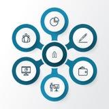 Job Outline Icons Set Raccolta di firma del contratto, della presentazione di affari, del grafico di cerchio e di altri elementi  Fotografia Stock Libera da Diritti