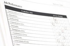 Job performance form Stock Images