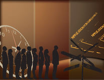 Job placement. Vector illustration on the theme of employment, with people standing in line and characters Royalty Free Stock Photo