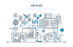 Job plan concept. Time management, planning, marketing, organization. Business strategy. Job plan concept. Time management and optimization work time, planning Stock Image