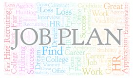 Job Plan word cloud. Wordcloud made with text only royalty free illustration
