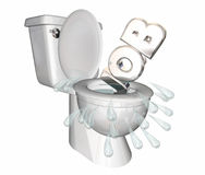 Job Position Unemployed Loss Laid Off Toilet Flush Down. 3d Illustration Stock Photo