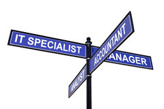 Job Positions. Four-way metal roadsign with IT Specialist, Manager, Accountant and Analyst job positions over white background stock images