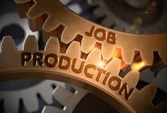 Job Production nas engrenagens douradas ilustração 3D Foto de Stock Royalty Free