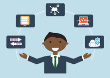 IT job profile  illustration of business person. IT expert for cloud computing and infrastructure Royalty Free Stock Photo