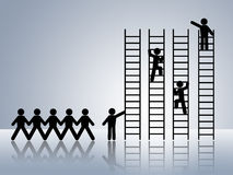 Job promotion career move work ambition. Paper chain figures business man climbing ladder of success and getting job promotion career move work ambition reach Royalty Free Stock Image