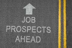 Job Prospects. Ahead white road surface sign with yellow lines royalty free stock images