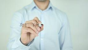 Job Prospects Ahead, écrivant sur l'écran transparent banque de vidéos