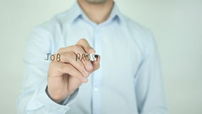 Job Prospects Ahead, Writing On Transparent Screen. Man writing stock footage
