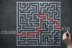 Job prospects maze solution. Maze path solution leading from college to job stock images