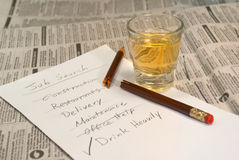Job-Recherche-Trinken Stockfoto
