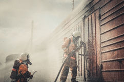 Job rescuer.  Fire rescue eliminate fire Royalty Free Stock Photo