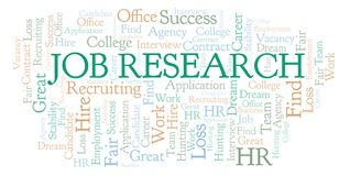 Job Research word cloud. stock illustration