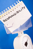 Job responsibility, balance measuring pros & cons Stock Photo