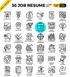 Job Resume Icons. Job Resume outline icons modern style for website or print illustration Stock Photography