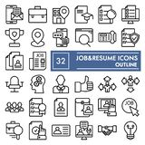 Job and resume line icon set, work symbols collection, vector sketches, logo illustrations, vacancy signs outline. Pictograms package isolated on white royalty free illustration