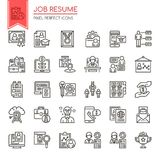 Job Resume. Thin Line and Pixel Perfect Icons Royalty Free Stock Photo