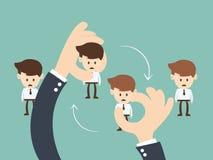 Job Rotation-concept, de omwenteling van de zakenmanJob van de Bedrijfshandgreep Royalty-vrije Stock Foto