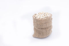 Job's tears in gunny bag, chinese pearl barley , on white backgr Royalty Free Stock Images