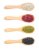 Job's Tears, Kidney Beans, Mung Beans And Black Beans With Wooden Spoon. Royalty Free Stock Photography