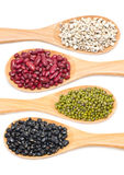 Job's Tears, Kidney Beans, Mung Beans And Black Beans With Wooden Spoon. Stock Photos