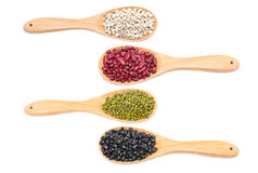 Job's Tears, Kidney Beans, Mung Beans And Black Beans With Wooden Spoon. Royalty Free Stock Image
