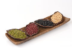 Job's tears, Soy beans, Red beans, black beans and green beans. Stock Photo