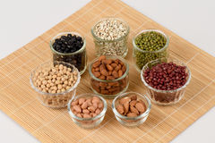 Job's tears, Soy beans, Red beans, black beans, Peanut and green beans. Stock Photography