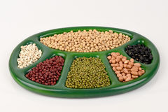 Job's tears, Soy beans, Red beans, black beans, Peanut and green beans. Royalty Free Stock Image