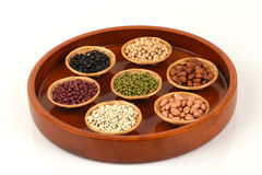 Job's tears, Soy beans, Red beans, black beans, Peanut, pine nut, Almond and green beans. Royalty Free Stock Photos