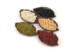 Job's tears, Soy beans, Red beans, black beans, Peanut, pine nut, Almond and green beans. Royalty Free Stock Image