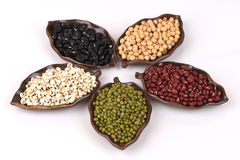 Job's tears, Soy beans, Red beans, black beans, Peanut, pine nut, Almond and green beans. Royalty Free Stock Photography
