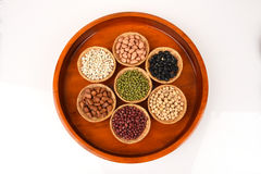 Job's tears, Soy beans, Red beans, black beans, Peanut, pine nut, Almond and green beans . Royalty Free Stock Photo