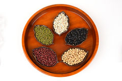 Job's tears, Soy beans, Red beans, black beans, Peanut, pine nut, Almond and green beans . Stock Images