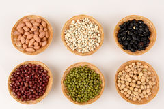 Job's tears, Soy beans, Red beans, black beans, Peanut, pine nut, Almond and green beans . Stock Photos