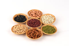 Job's tears, Soy beans, Red beans, black beans, Peanut, pine nut, Almond and green beans . Royalty Free Stock Image