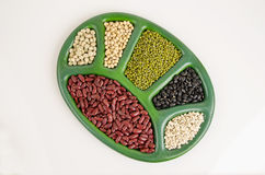 Job's tears, Soy beans, Red beans, Sugar Pea, black beans, and green beans. Stock Image