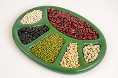 Job's tears, Soy beans, Red beans, Sugar Pea, black beans, and green beans. Royalty Free Stock Photography