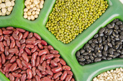 Job's tears, Soy beans, Red beans, Sugar Pea, black beans, and green beans. Stock Photography