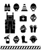 Job safety black icons. Personal protective. Job safety black icons set. Personal protective equipment. Headphones and rubber boots, workwear and extinguisher Stock Photos
